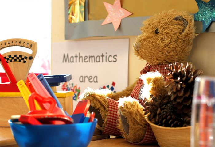 Buttercup Teddy bear sitting in the classroom, Independent School Portsmouth