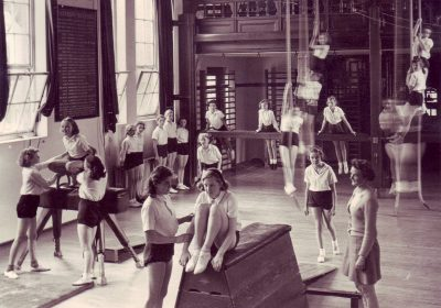 A unique history showing past girls during a PE lesson, Independent School Portsmouth