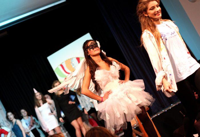 Senior girls modelling at fashion show, Independent School Portsmouth