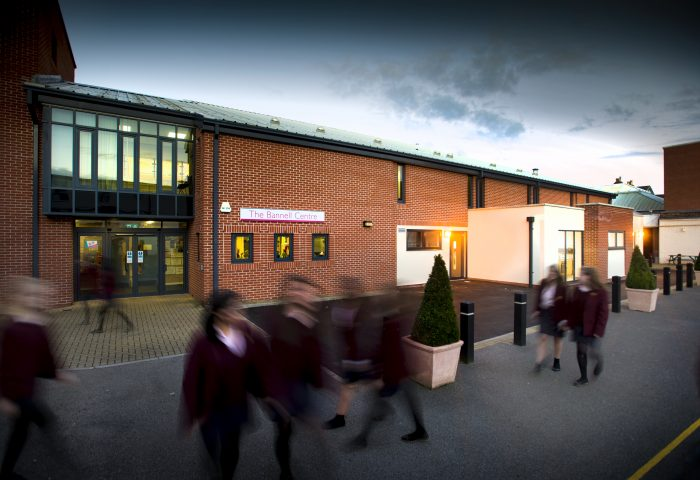 Independent School Portsmouth, Senior girls walking passed the entrance of Private School