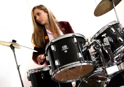 Independent school, Portsmouth High School, girl on drums