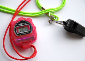 Red stopwatch and whistle, Fitness club at Independent School Portsmouth