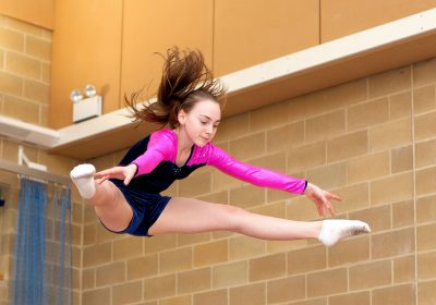Girl jumping high on the Trampolining, co-ordination skills, Independent School Portsmouth