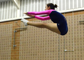 Girl Trampolining high in the air, Private School Portsmouth