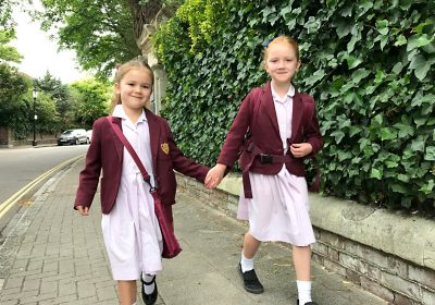Prep School girls holding hands walking to Independent School Portsmouth