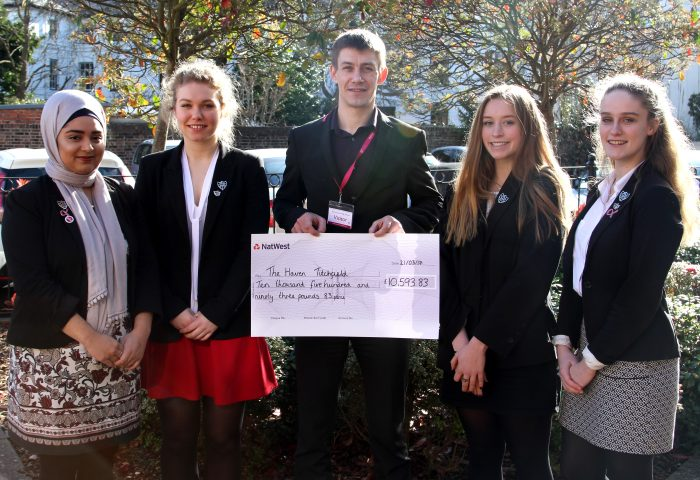 Breast Cancer Haven cheque presentation from Portsmouth High School