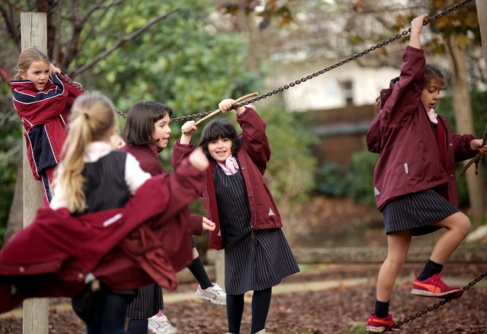 Independent School Portsmouth, Prep school girls playing outside together