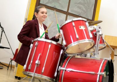 Prep School girl playing the drums, Independent School Portsmouth