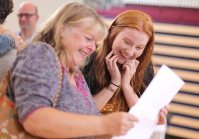 Independent School Portsmouth, Student celebrating the best GCSE results with her mum