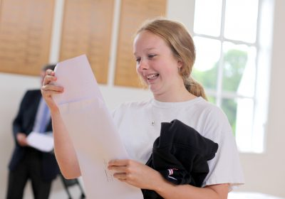 Private School Portsmouth, Girl celebrating outstanding A Level results