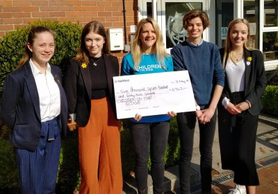 Portsmouth High School Sixth Form present cheque to Children on the Edge