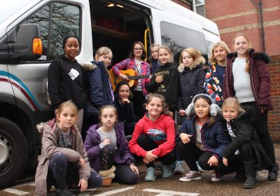 Girls setting off on Portsmouth High Prep School Music Tour
