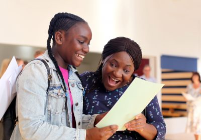 Opening GCSE results at Portsmouth High School