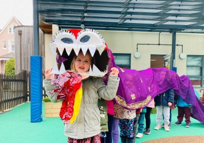 Chinse dragon dance by Pre-School at Portsmouth High School