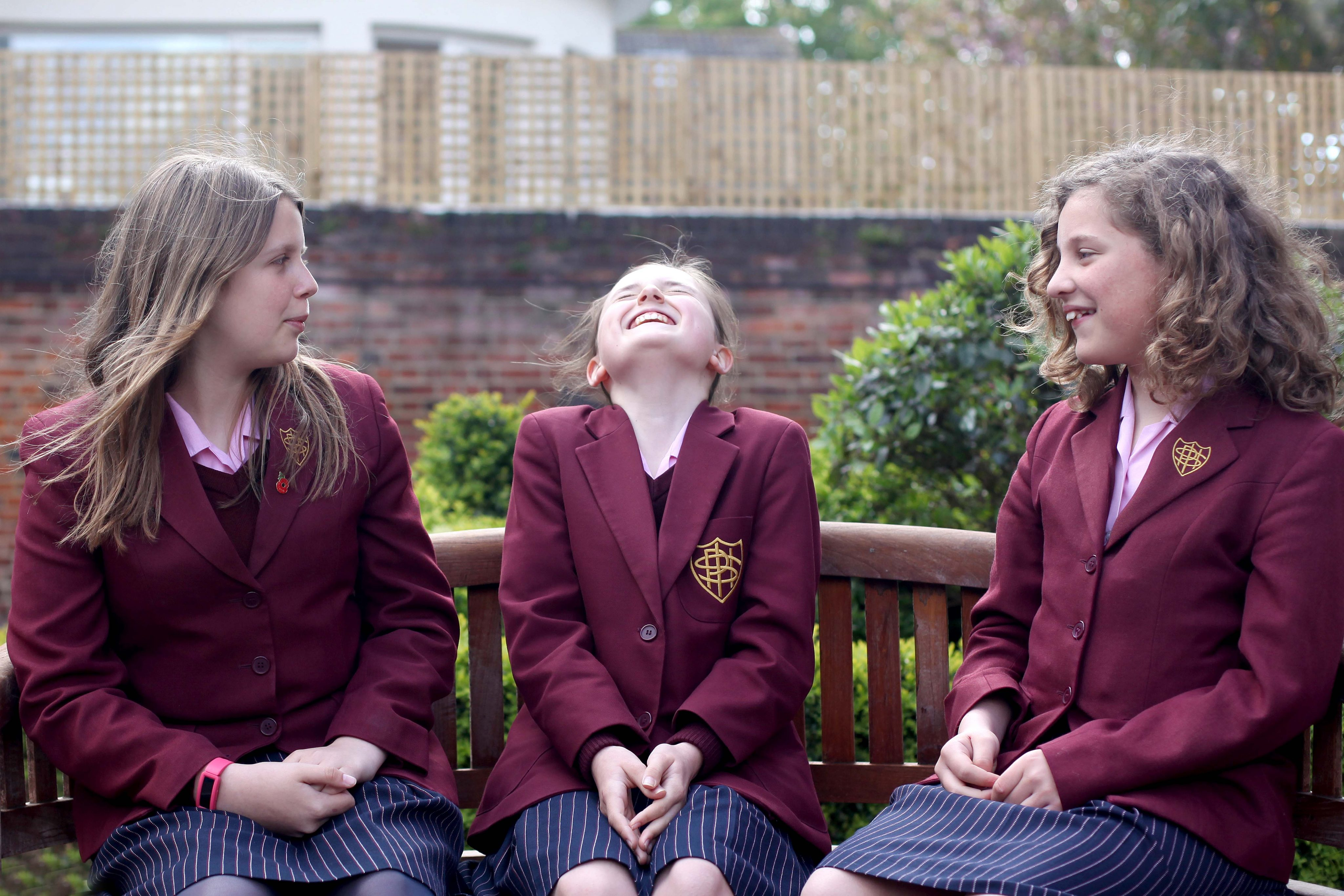 Year 7 girls at Portsmouth High School talking outside