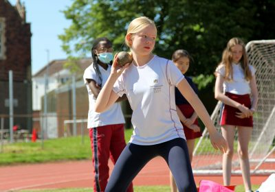 Shot put at Portsmouth High School Sports Day