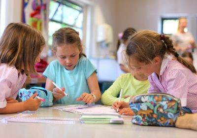 Four girls in the classroom on prep school languages day