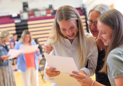 Celebrating receiving GCSE results