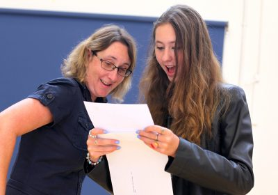 Girl sharing GCSE results at Portsmouth High School GDST