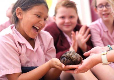 girl holding African land snail